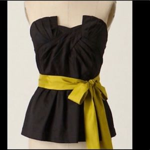 Anthropologie Black peplum Top with bow 0